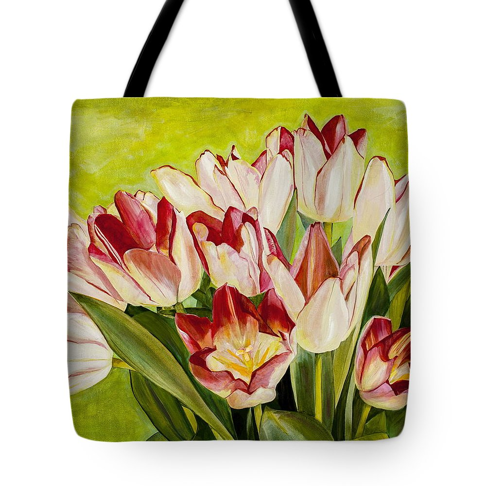 Tulips Tote Bag featuring the painting Pink Tulips by Dawn Aumann