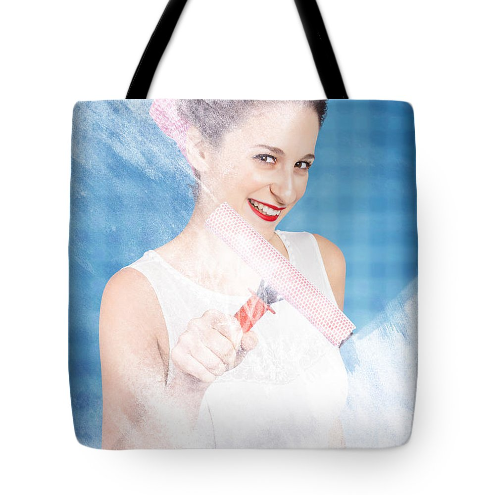 Glass Tote Bag featuring the photograph Pin Up Cleaning Lady Washing Glass Shower Door by Jorgo Photography - Wall Art Gallery