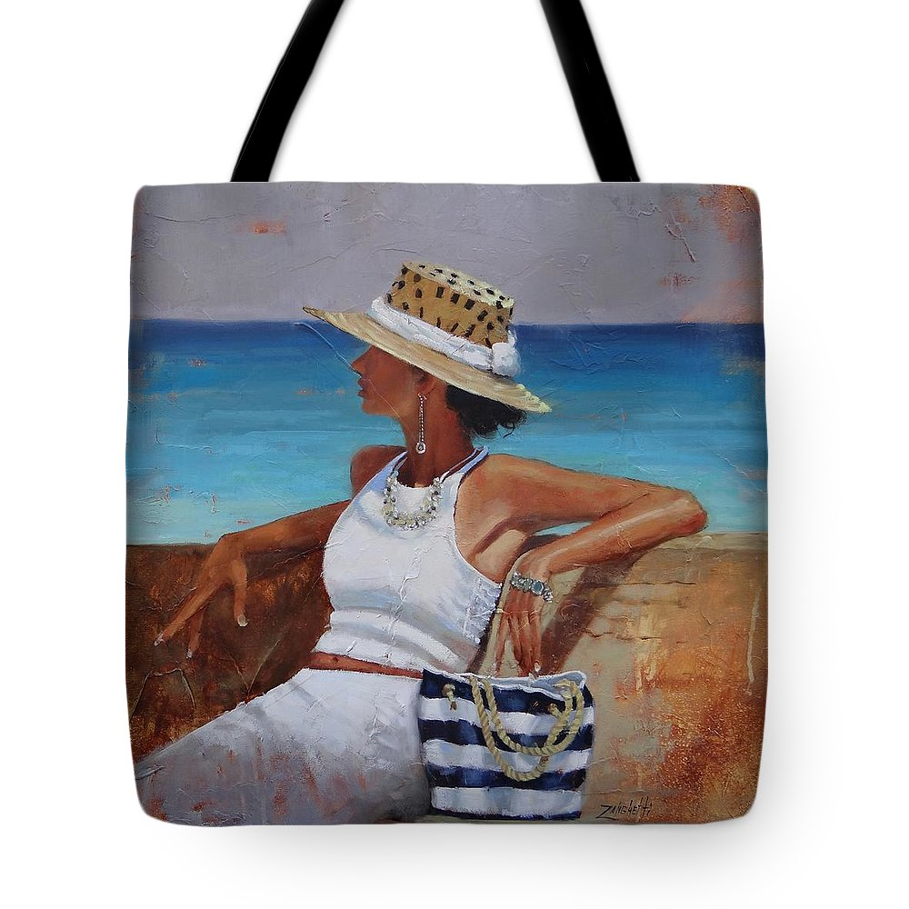 Laura Zanghetti Tote Bag featuring the painting Pina Colada Please by Laura Lee Zanghetti