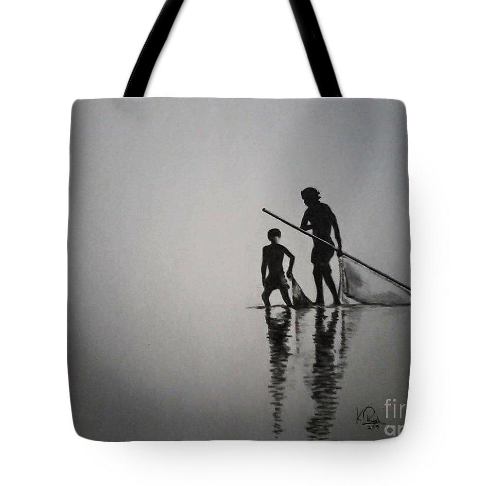 Fisher Man Whit Boy. Tote Bag featuring the drawing Pincil Art Drawing by Raju Katari