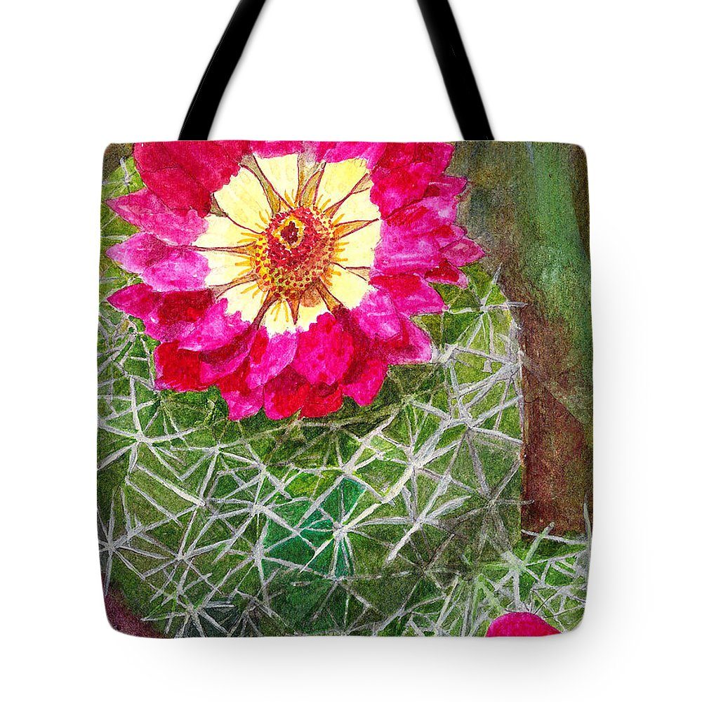 Cactus Tote Bag featuring the painting Pincushion Cactus by Eric Samuelson