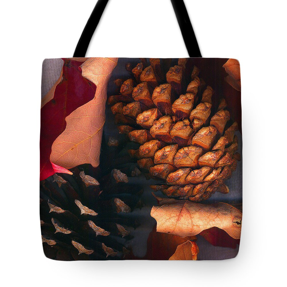Pine Cones Tote Bag featuring the photograph Pine Cones And Leaves by Nancy Mueller