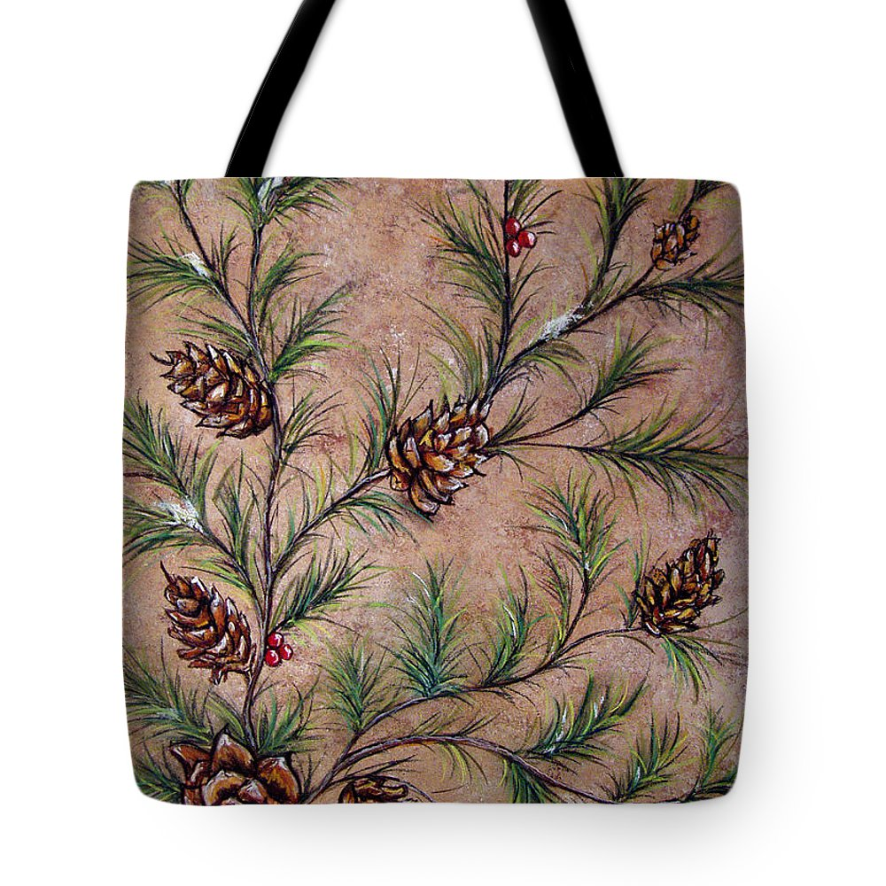 Acrylic Tote Bag featuring the painting Pine Cones And Spruce Branches by Nancy Mueller