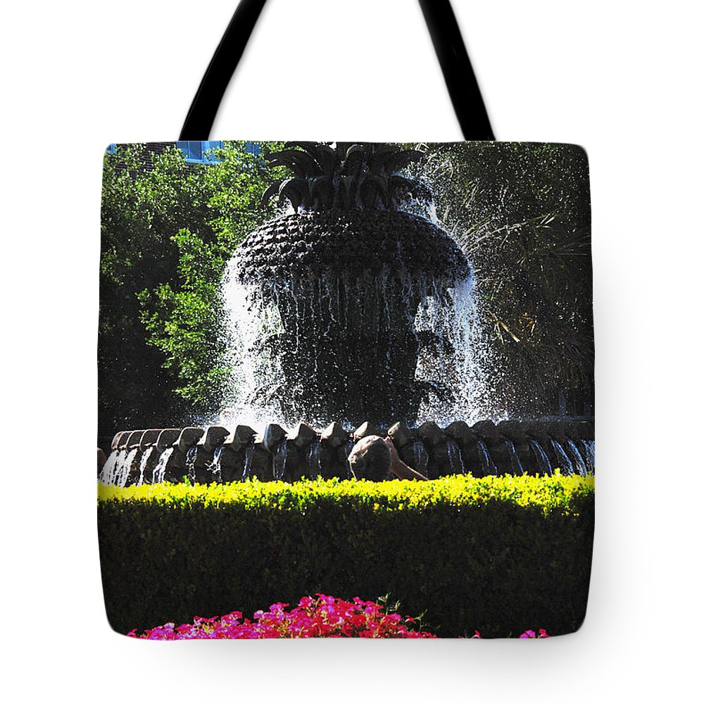 Photography Tote Bag featuring the photograph Pineapple Fountain Charleston Sc by Susanne Van Hulst