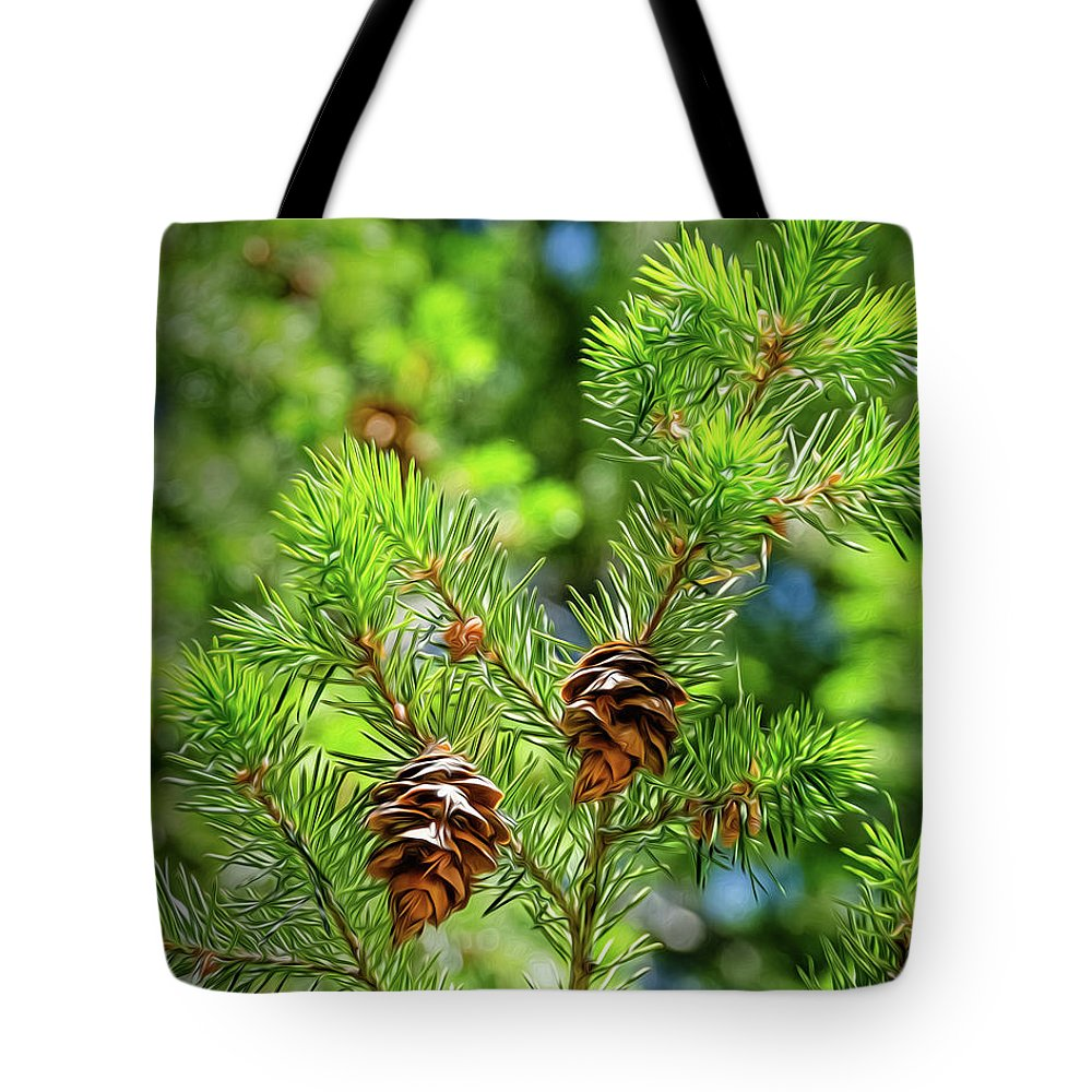 Green Tote Bag featuring the digital art Pinecones by Mellissa Ray