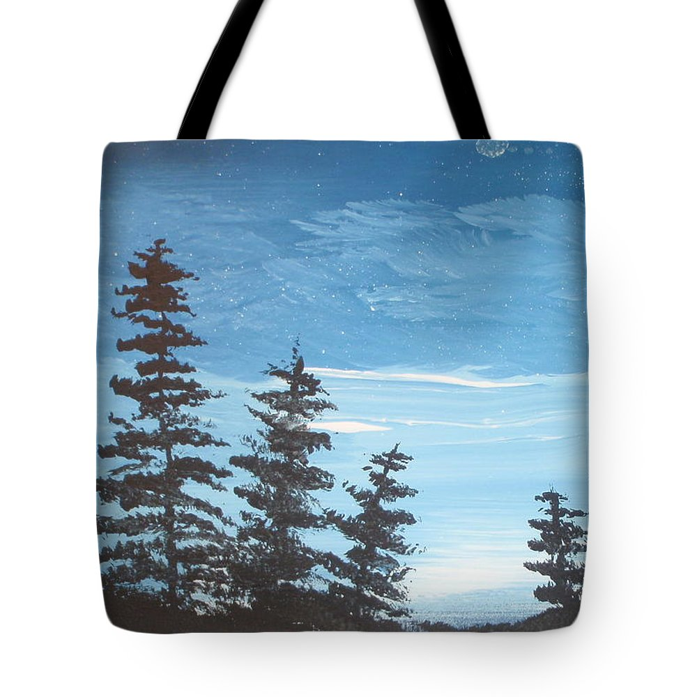 Folk Tote Bag featuring the painting Piney Sky by Susan Michutka