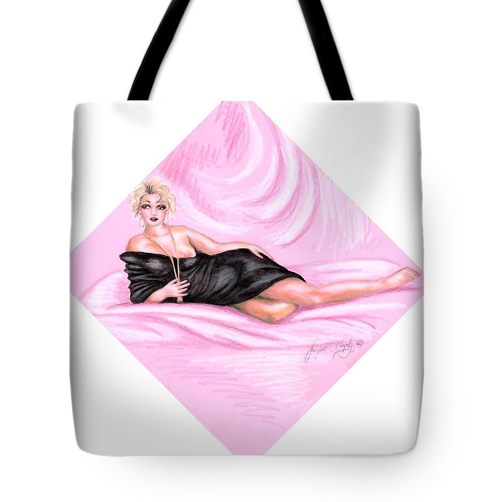 Figure Tote Bag featuring the drawing Pink Allure by Scarlett Royal