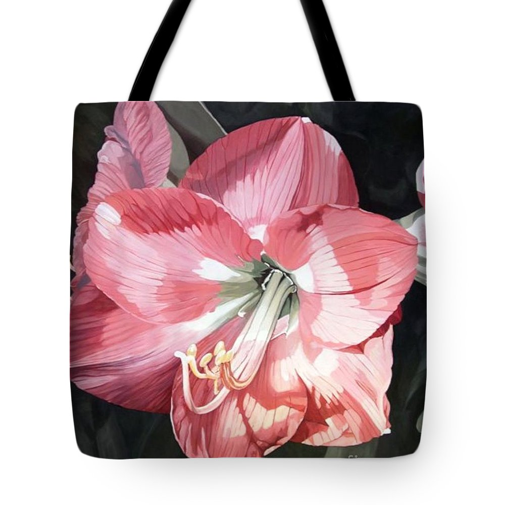 Pink Amaryllis Tote Bag featuring the painting Pink Amaryllis by Laurie Rohner