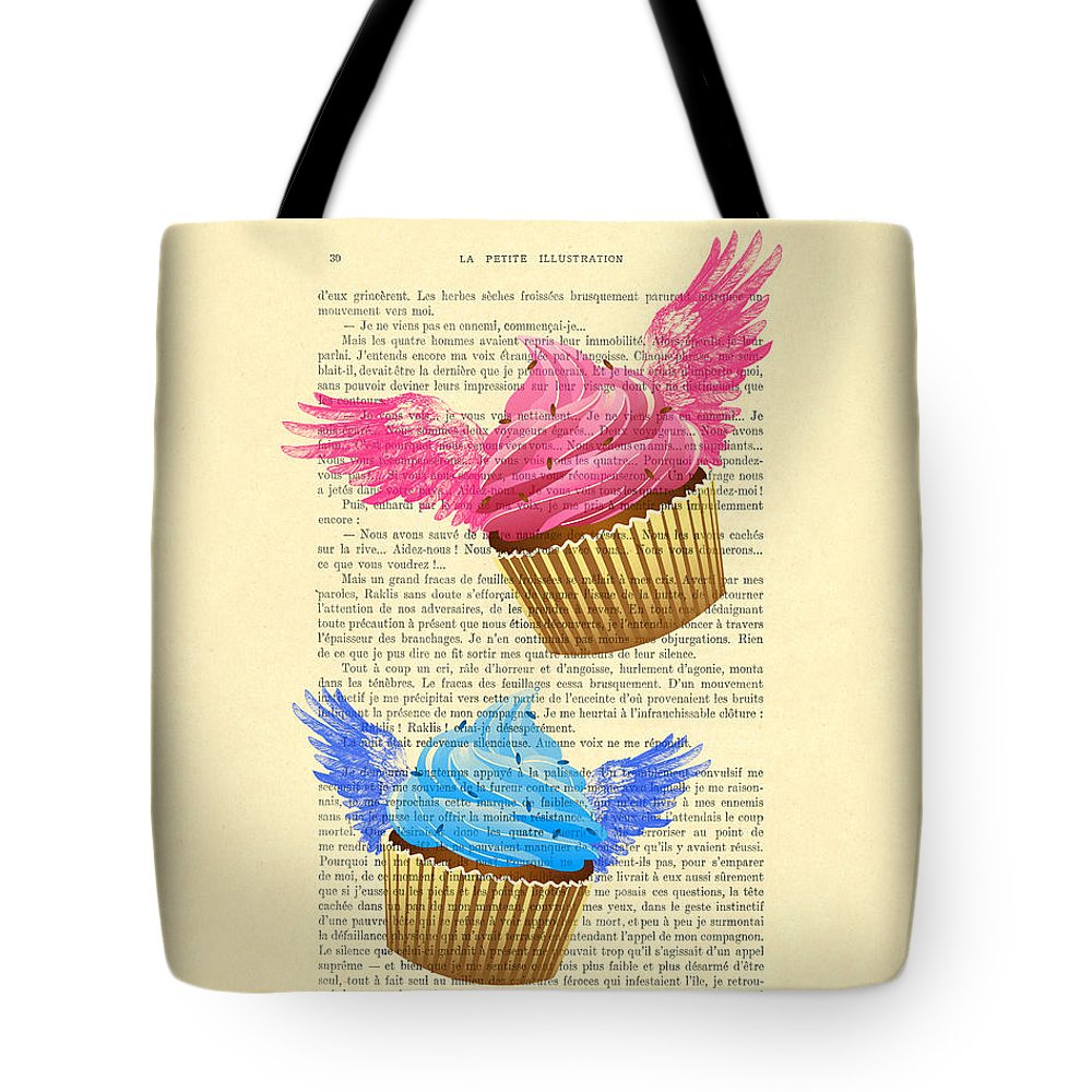 Have A Cupcake Tote Bag featuring the digital art Pink And Blue Cupcakes Vintage Dictionary Art by Madame Memento