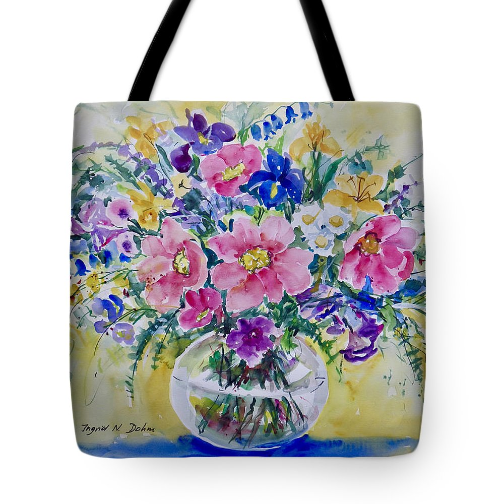 Impressionism Tote Bag featuring the painting Pink And Blue by Ingrid Dohm