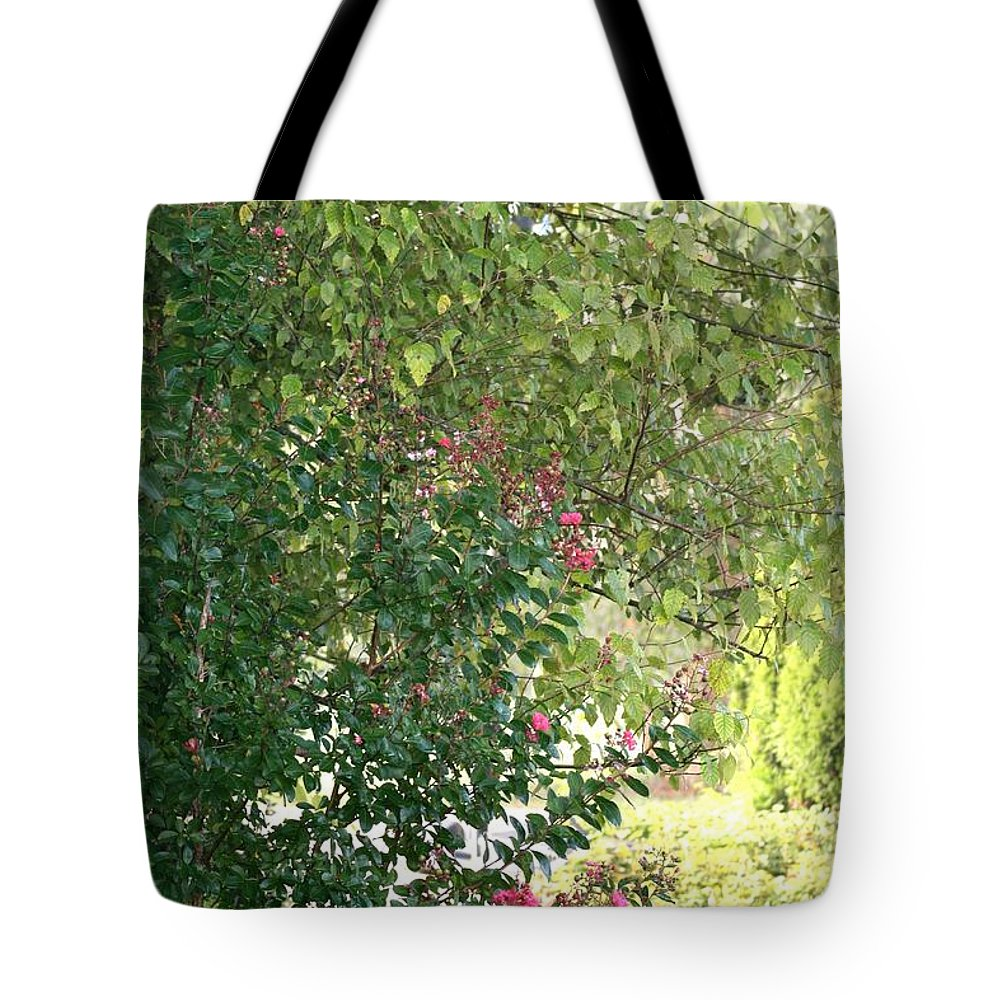 Path Tote Bag featuring the photograph Pink And Green Path by Nadine Rippelmeyer