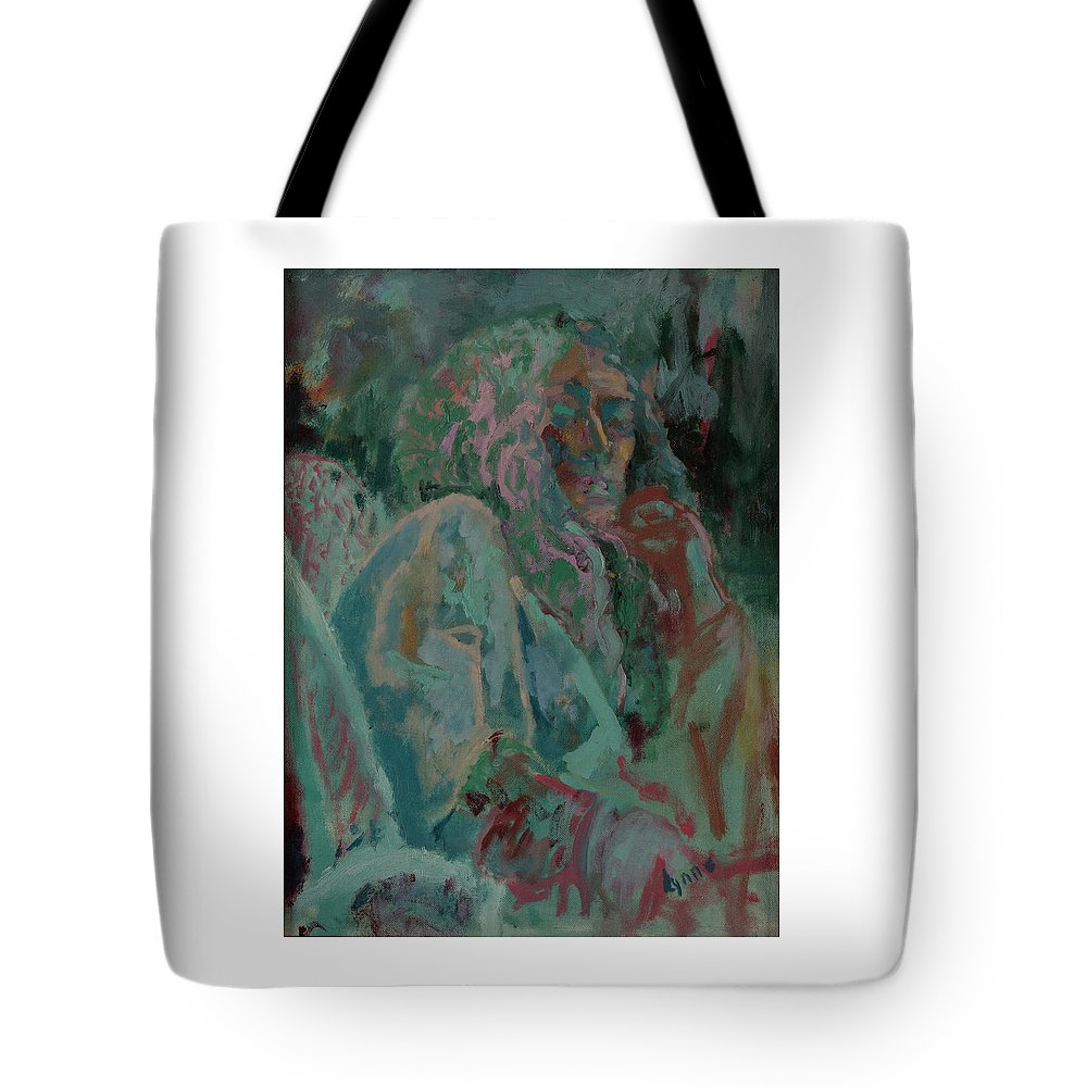 Portrait Tote Bag featuring the painting Pink And Green Portrait by Lynne Guess