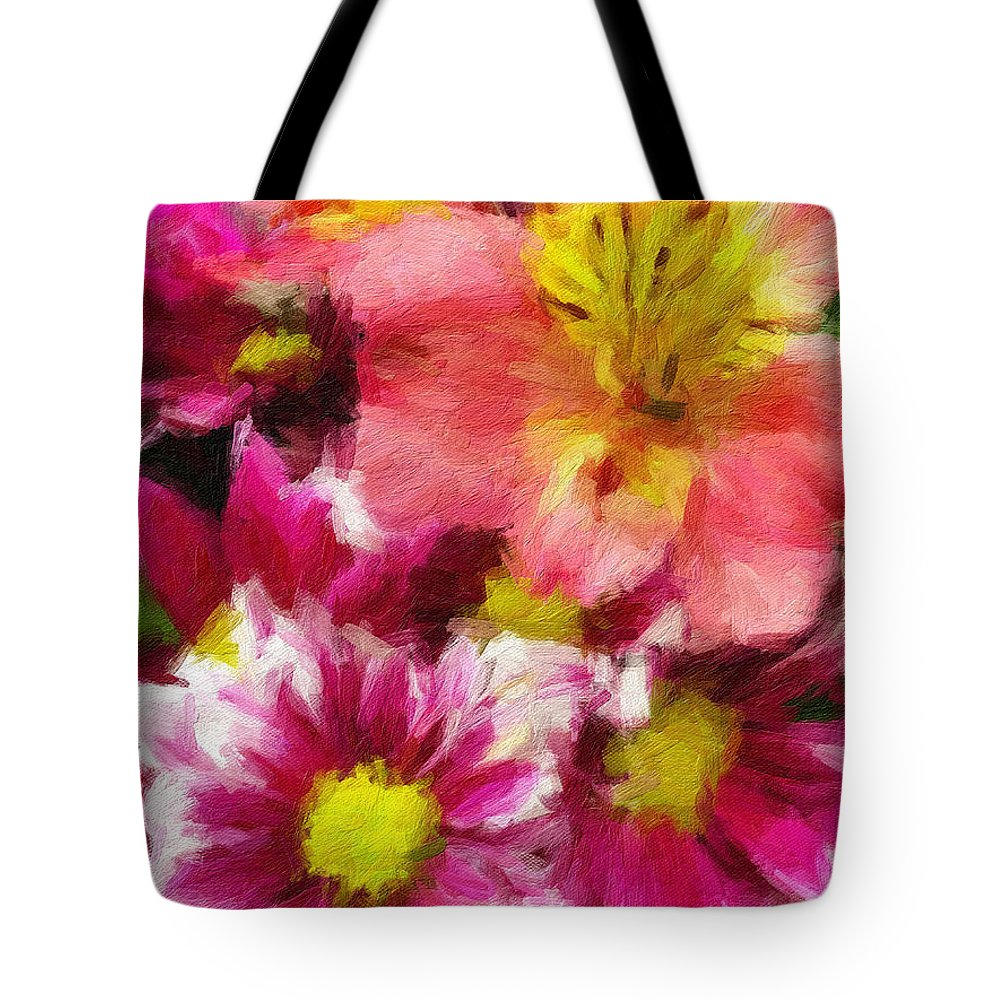 Tote Bag featuring the painting Pink And Orange by Sarah West