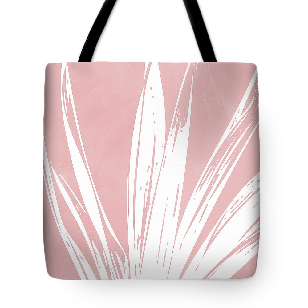 Leaf Tote Bag featuring the mixed media Pink And White Tropical Leaf- Art By Linda Woods by Linda Woods