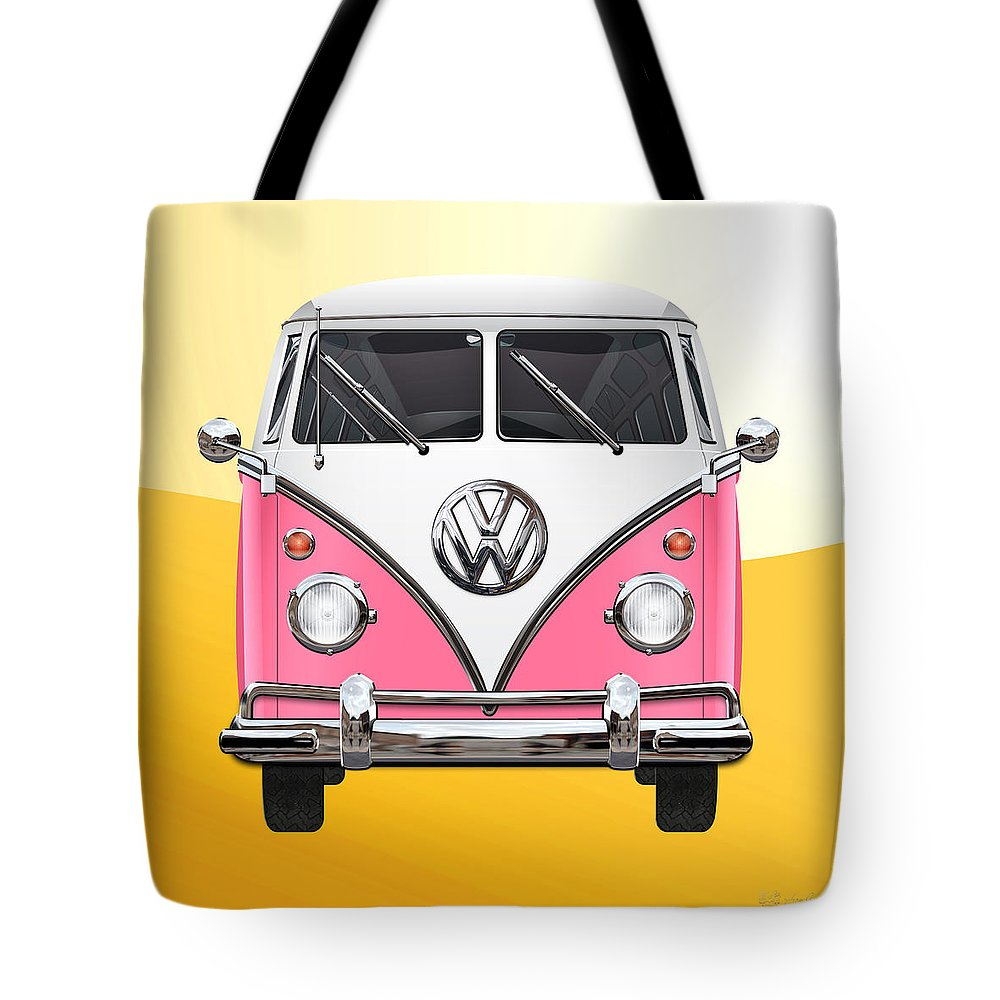 'volkswagen Type 2' Collection By Serge Averbukh Tote Bag featuring the photograph Pink and White Volkswagen T 1 Samba Bus on Yellow by Serge Averbukh
