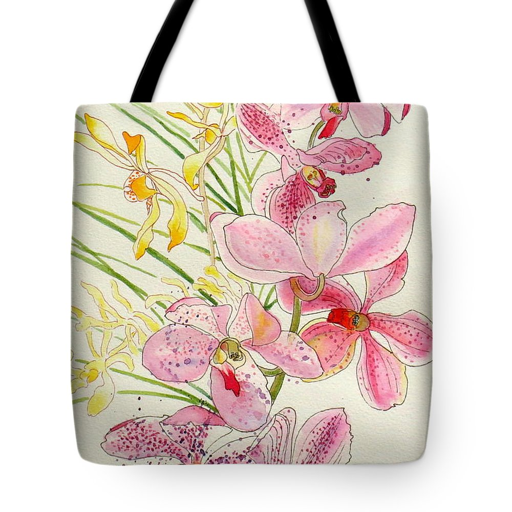 Pink Tote Bag featuring the painting Pink And Yellow Orchids by Andriane Georgiou