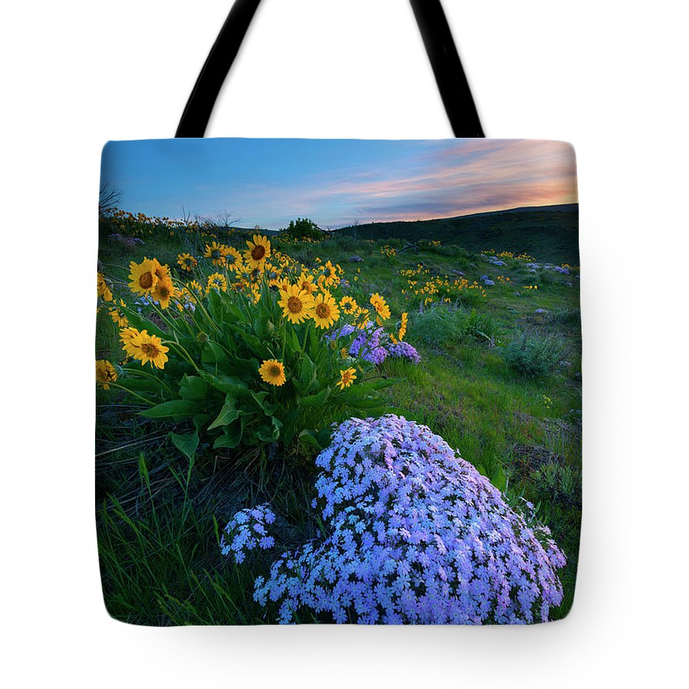 Phlox Tote Bag featuring the photograph Pink And Yellow Sunset by Mike Dawson