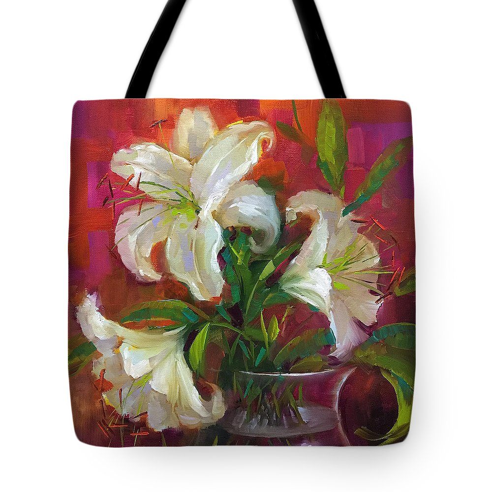 Lilies Tote Bag featuring the painting Pink Angel White Lilies by Nancy Medina
