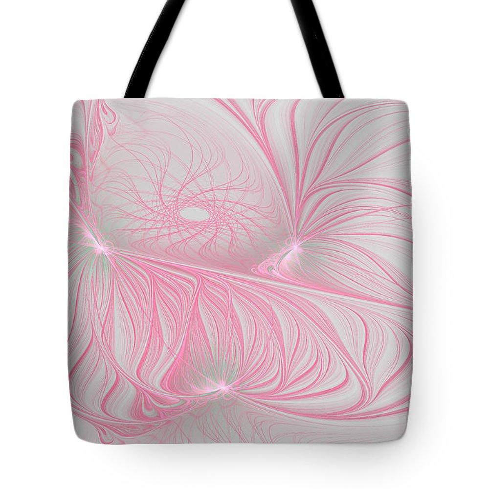 Fractal Tote Bag featuring the digital art Pink Anyone by Deborah Benoit