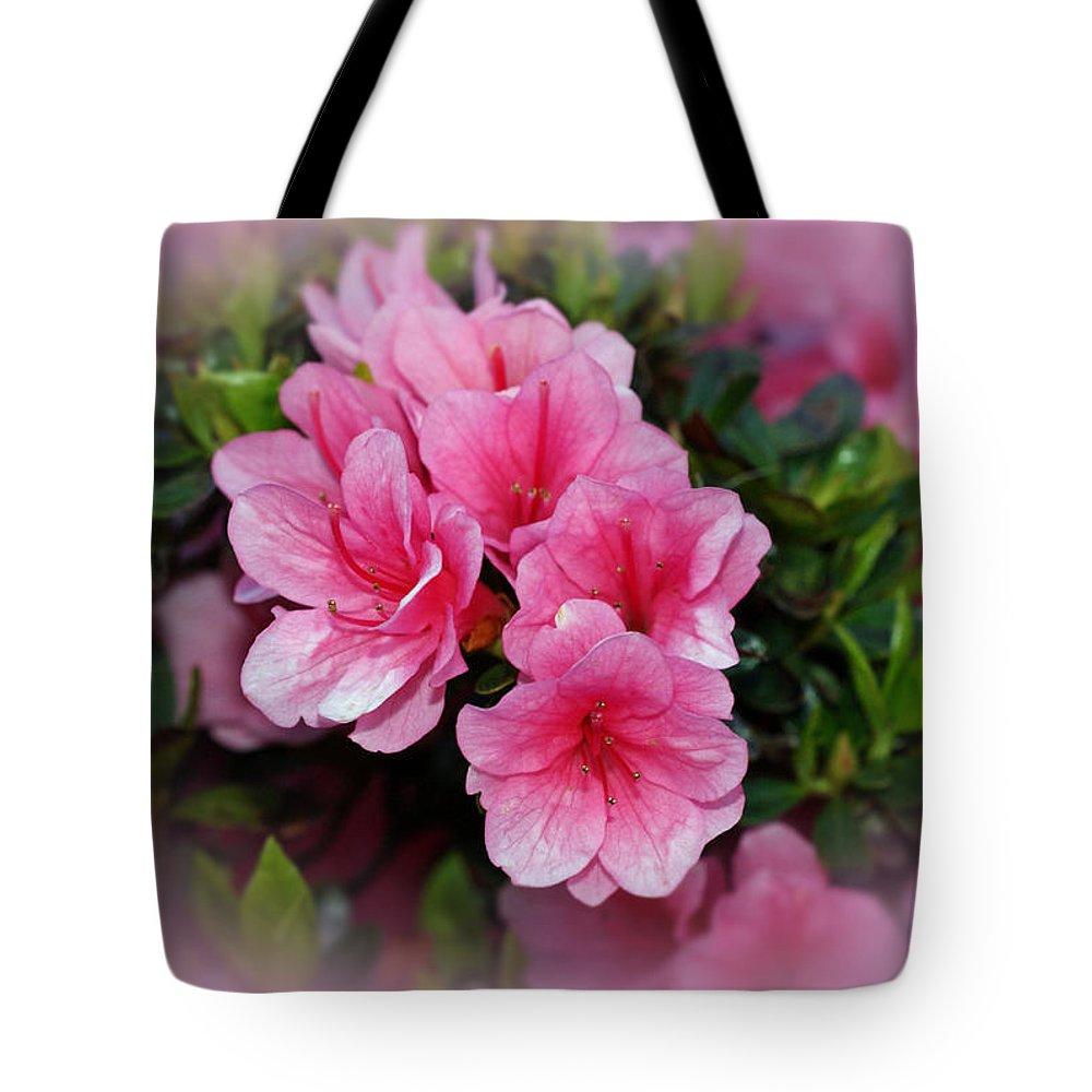 Azaleas Tote Bag featuring the photograph Pink Azaleas by Sandy Keeton