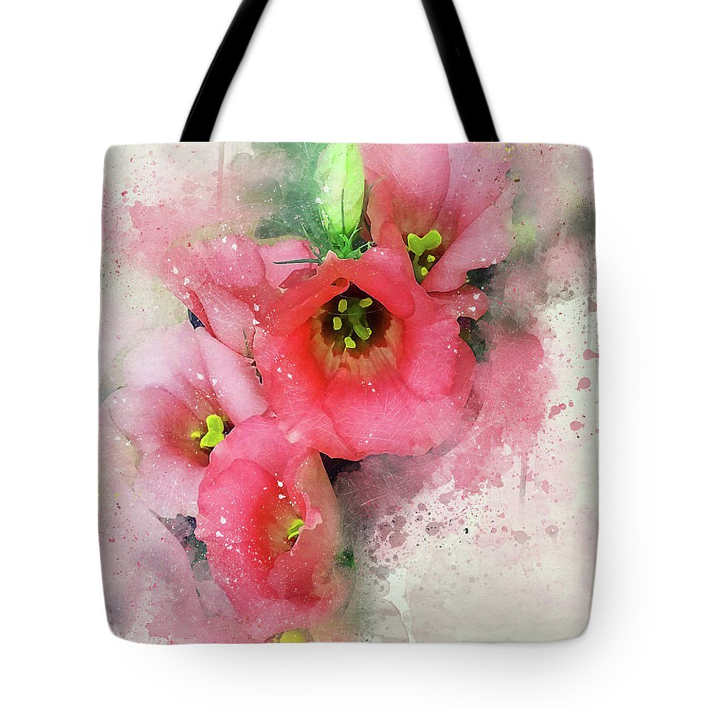 Pink Flowers Peggy Cooper Photography Digital Art Watercolor Effect Photo Illustration Flowers Floral Plants Nature Impressionism Impressionist Prints Canvas Mugs Shower Curtains Tote Clutch Bag Towels Throw Pillows Phone Cases Beach Home Office Goods Decorating Interior Design Galleries Gifts Women Girls Dainty Delicate Designer Greeting Cards Tote Bag featuring the photograph Pink Babies.jpg by Peggy Cooper