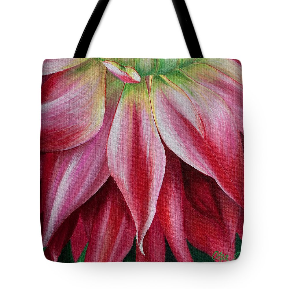 Pink Dahlia Tote Bag featuring the painting Pink Beauty by Olga Smith