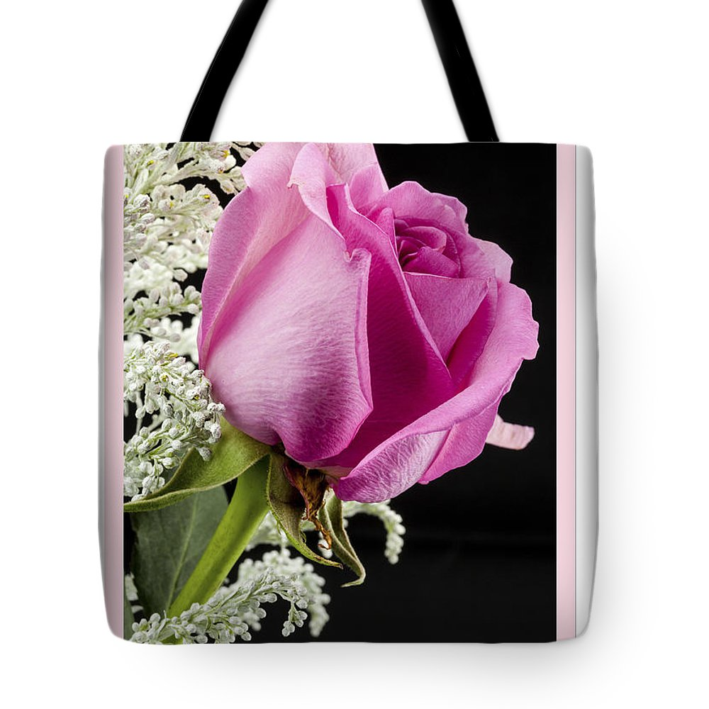 Flowers Tote Bag featuring the photograph Pink Birthday Rose by Donna Crider