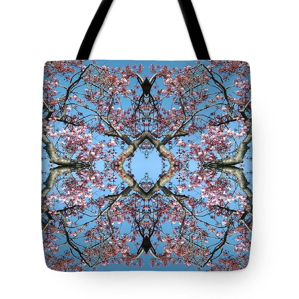 Pink Tote Bag featuring the photograph Pink Blossom Mandala by Julia Woodman