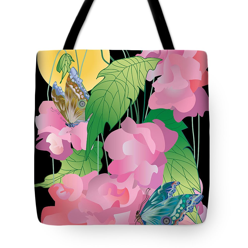 Pink Tote Bag featuring the digital art Pink Blossoms by Lydia Davis