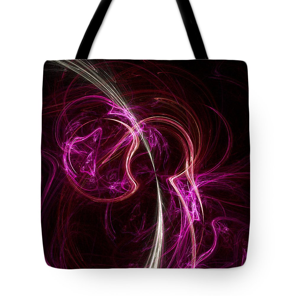 Fractal Tote Bag featuring the digital art Pink Blume by Susan Kinney