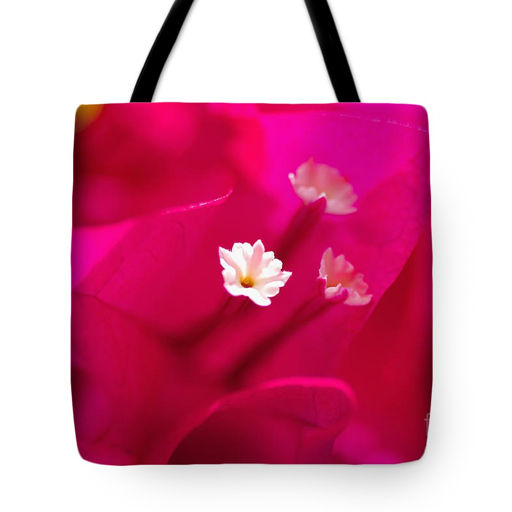 Abstract Tote Bag featuring the photograph Pink Bougainvillaea by Tomas del Amo - Printscapes