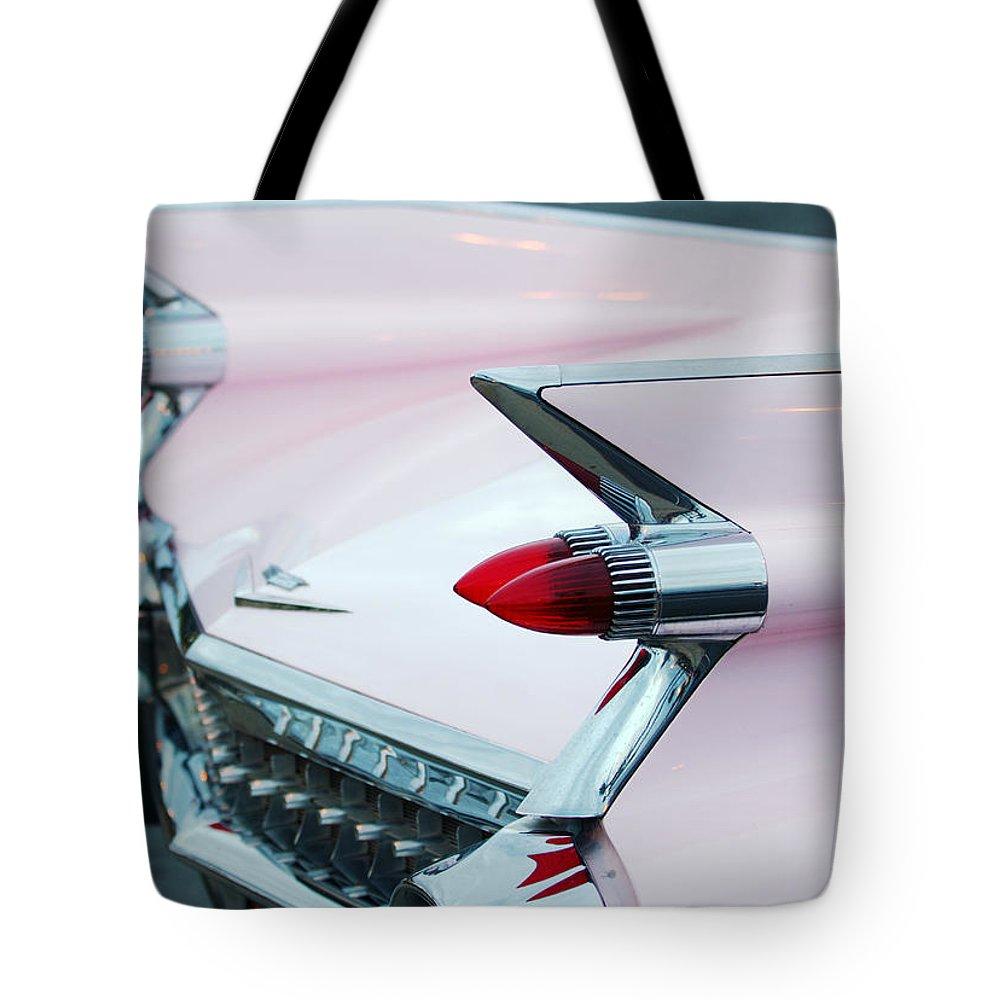 Car Tote Bag featuring the photograph Pink Cadillac Eldorado Tail Fin by Jill Reger