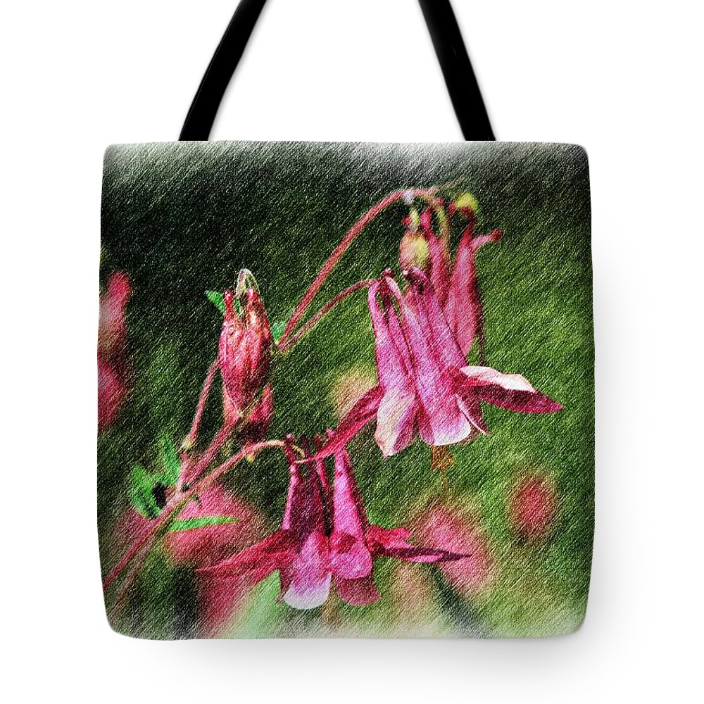Flower Tote Bag featuring the digital art Pink Columbines by Smilin Eyes Treasures