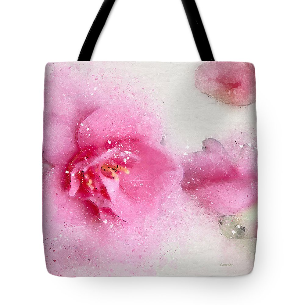 Pink Crystal Flowers Floral Peggy Cooper Cooperhouse Digital Art Photography Nature Tote Bag featuring the digital art Pink Crystal 2 by Peggy Cooper