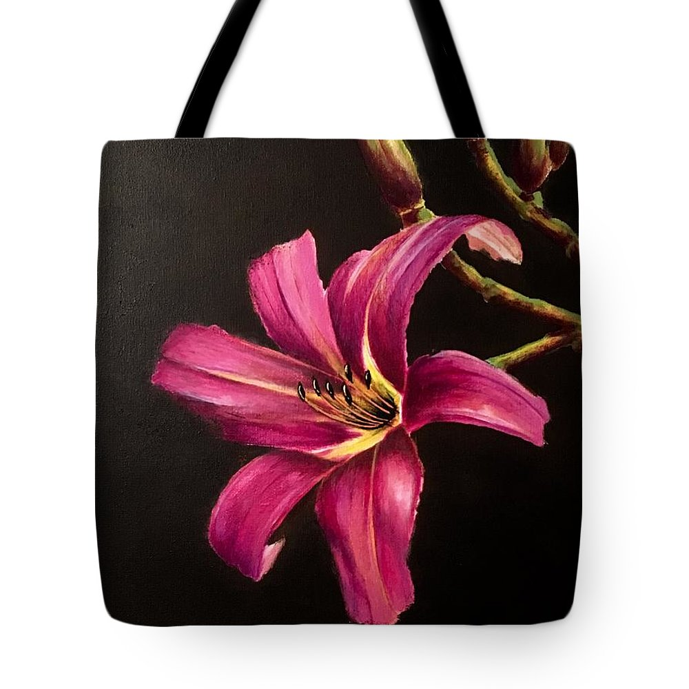 Pink Tote Bag featuring the painting Pink Daylily by Elizabeth Allen