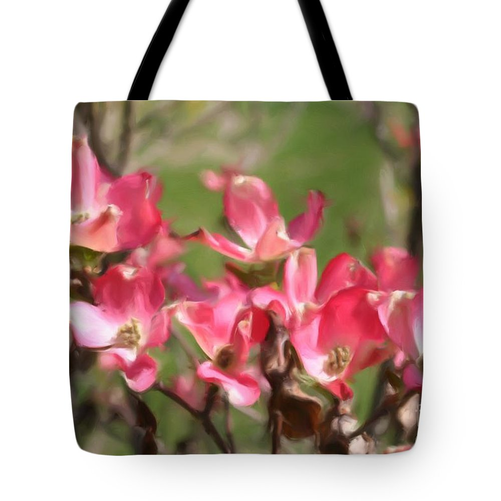 Flower Tote Bag featuring the painting Pink Dogwood Blossoms by Smilin Eyes Treasures