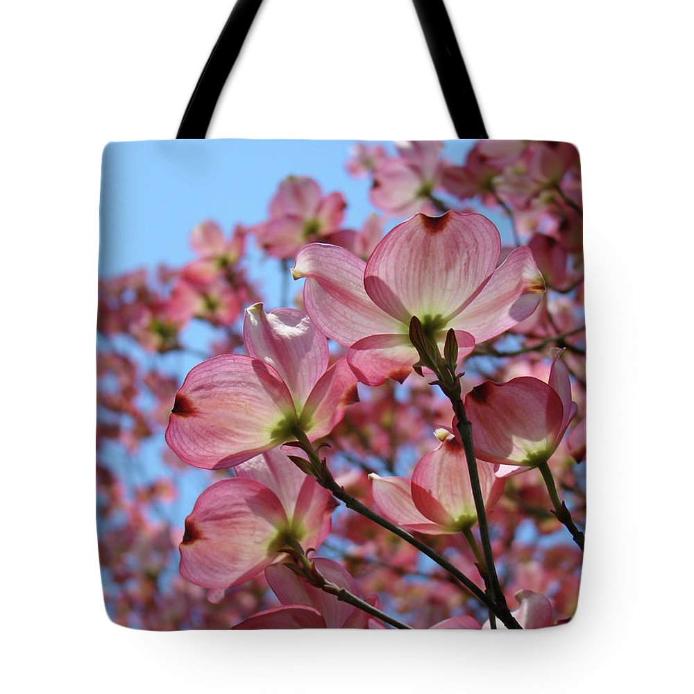 Dogwood Tote Bag featuring the photograph Pink Dogwood Flowers Landscape 11 Blue Sky Botanical Artwork Baslee Troutman by Baslee Troutman