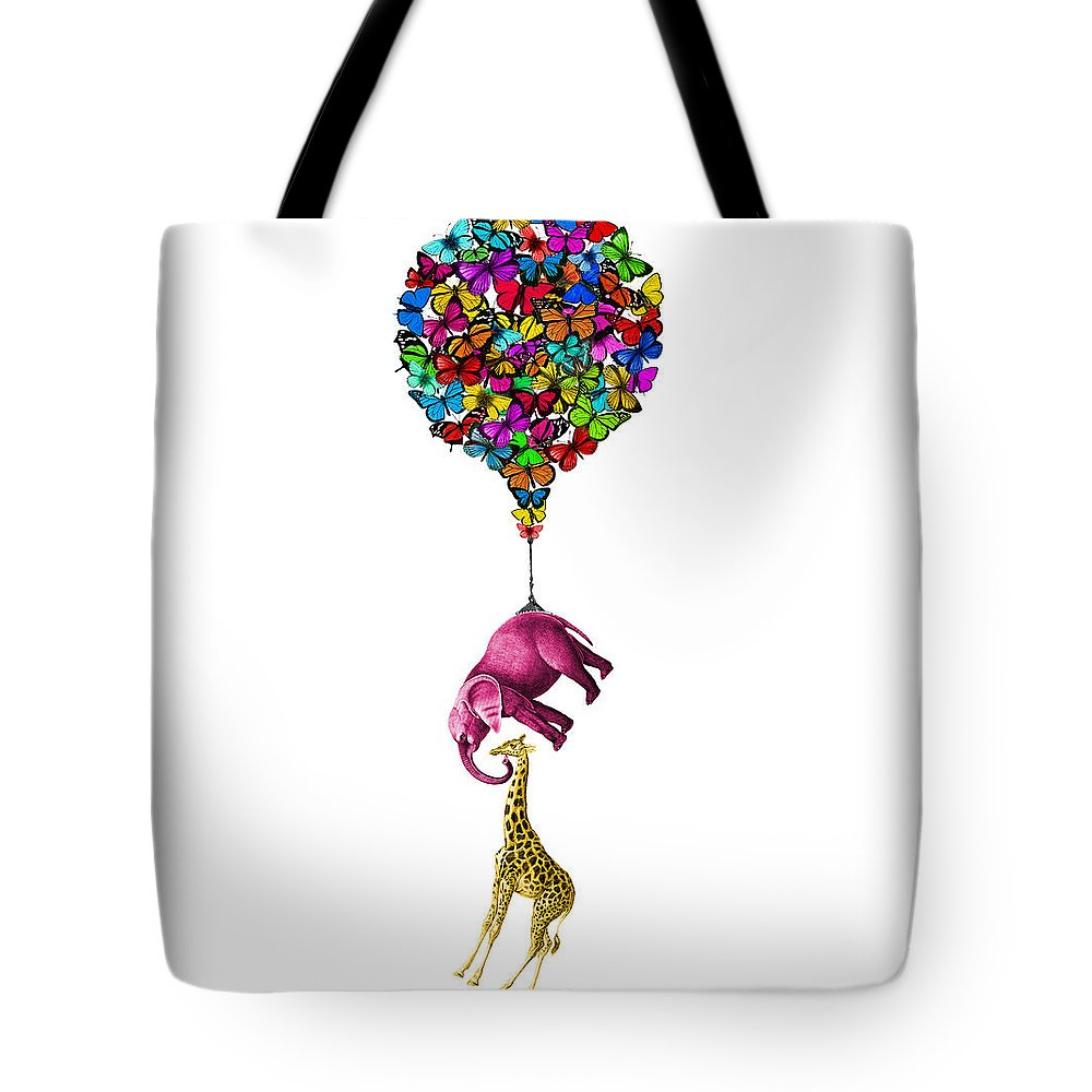 Pink Tote Bag featuring the digital art Pink Elephant And Giraffe Hanging From A Butterfly Balloon by Madame Memento