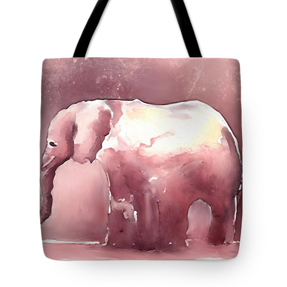 Elephant Tote Bag featuring the digital art Pink Elephant by Arline Wagner
