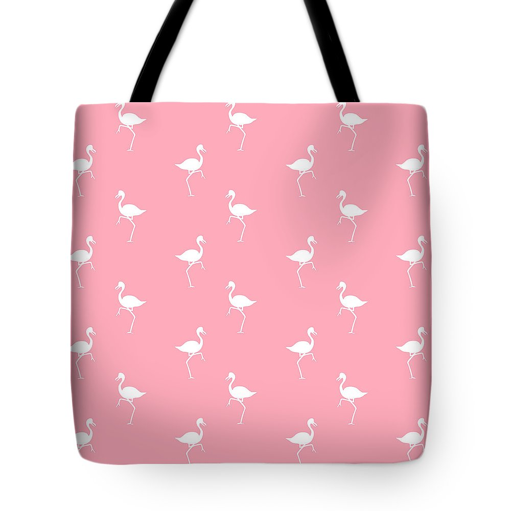 Flamingo Tote Bag featuring the mixed media Pink Flamingos Pattern by Christina Rollo