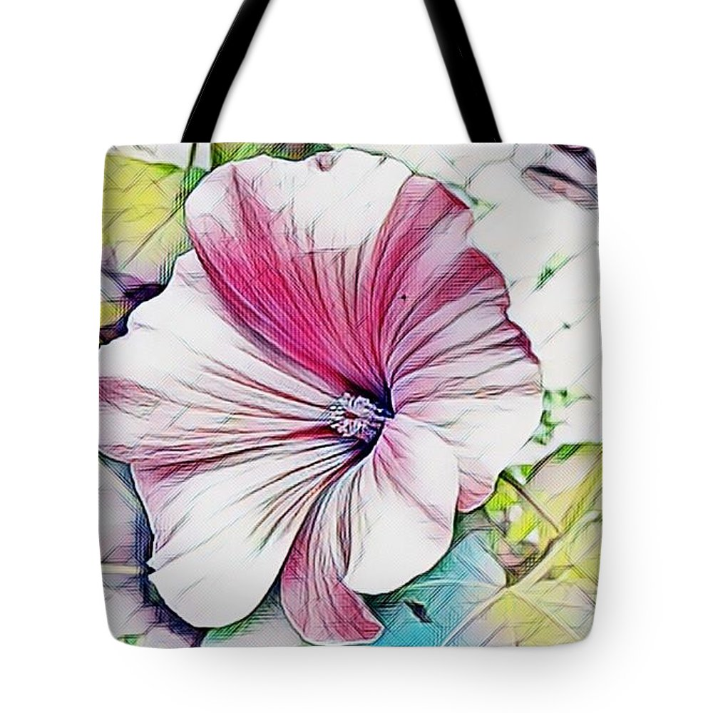 Pink Tote Bag featuring the mixed media One Pink Flower by Lana Mo