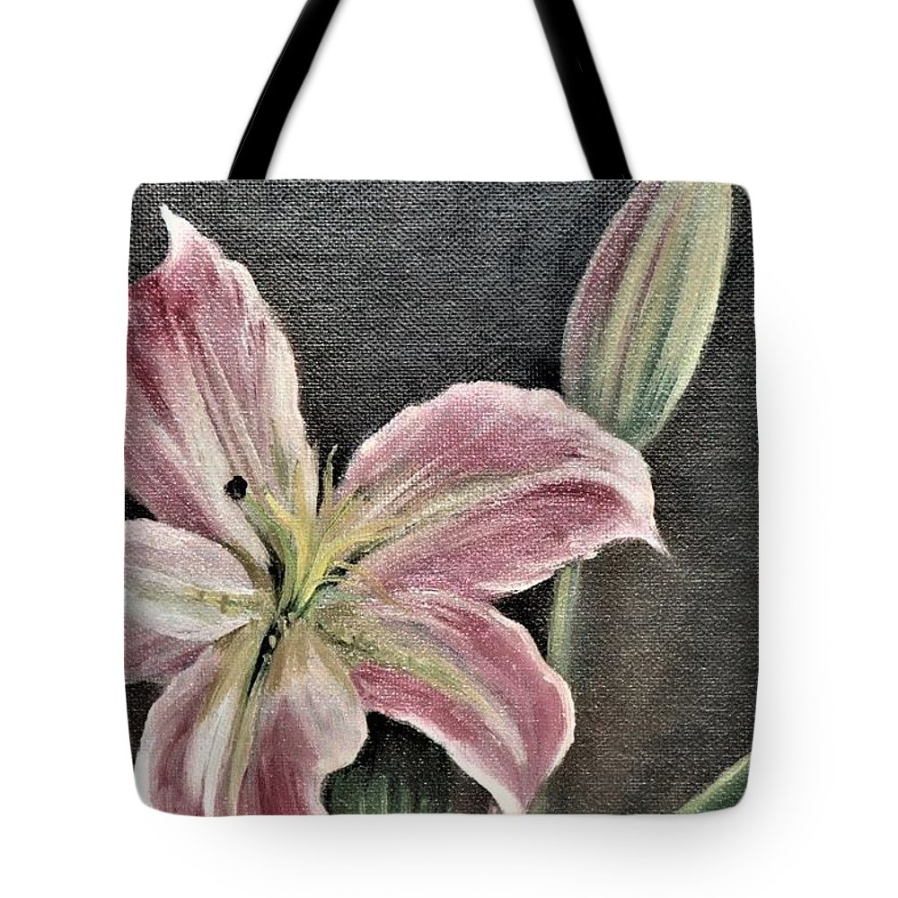 Pink Tote Bag featuring the painting Pink Flower by Suzn Art Memorial
