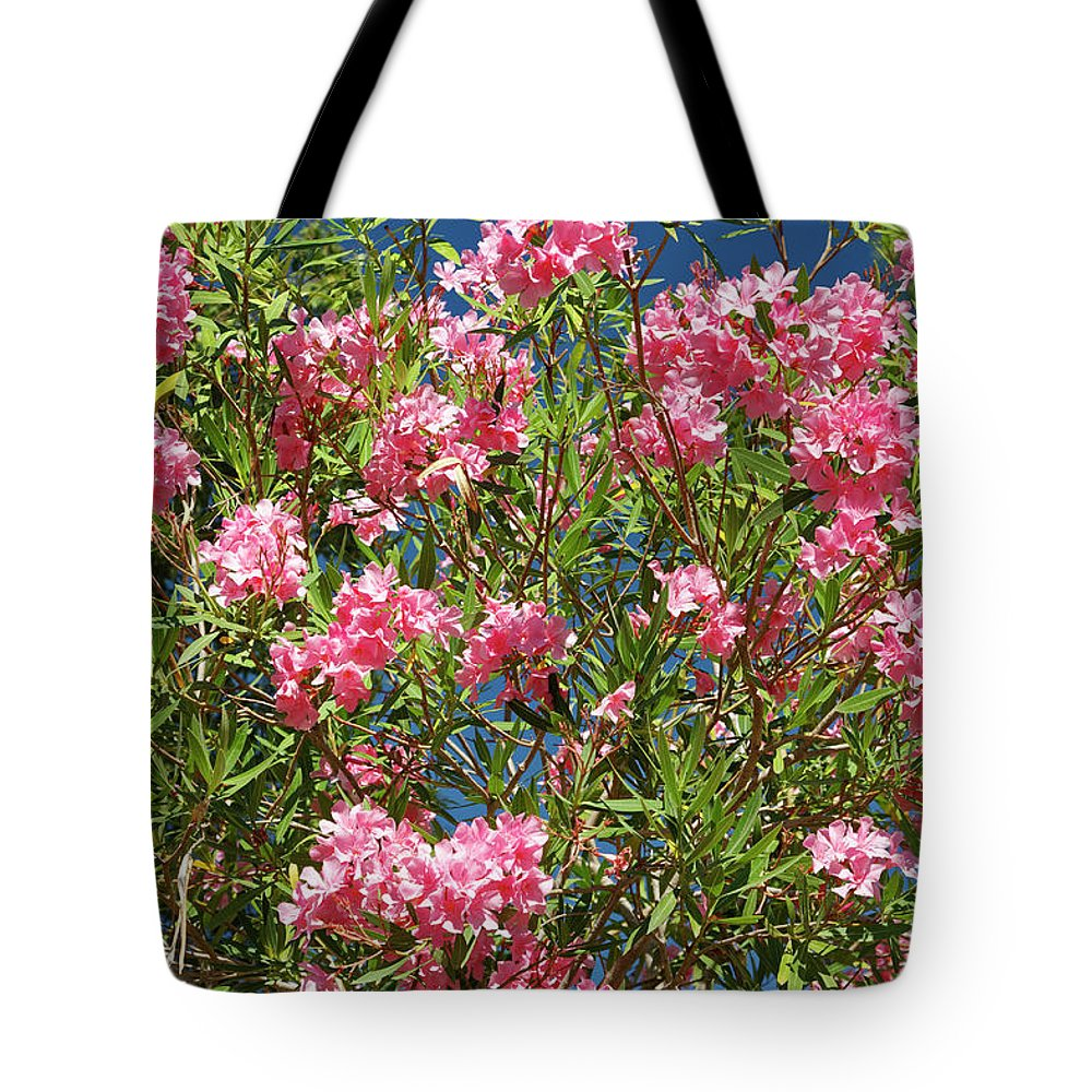 Deep Pink Flower Clusters Tote Bag featuring the photograph Pink Flowering Shrub by Sally Weigand
