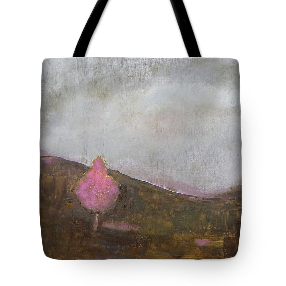 Landscape Tote Bag featuring the painting Pink Flowering Tree by Vesna Antic