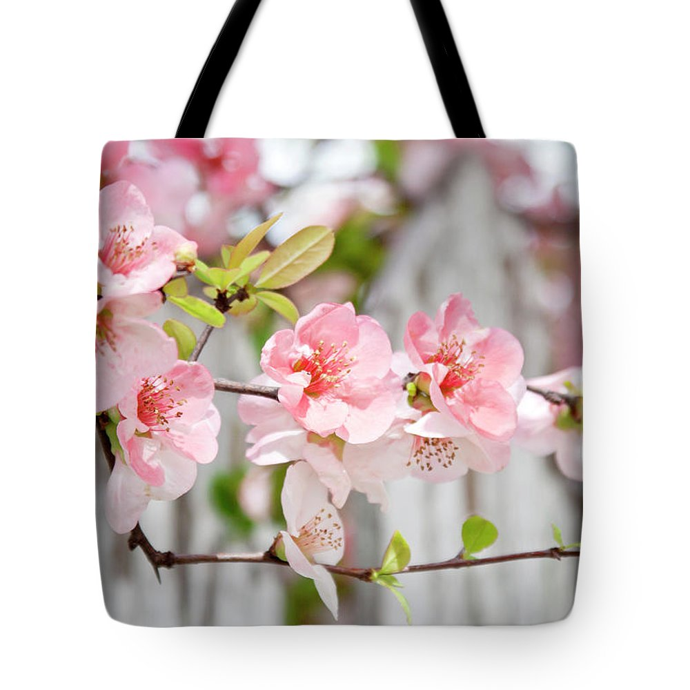 Flowers Tote Bag featuring the photograph Pink Flowers And A White Picket Fence by Toni Hopper