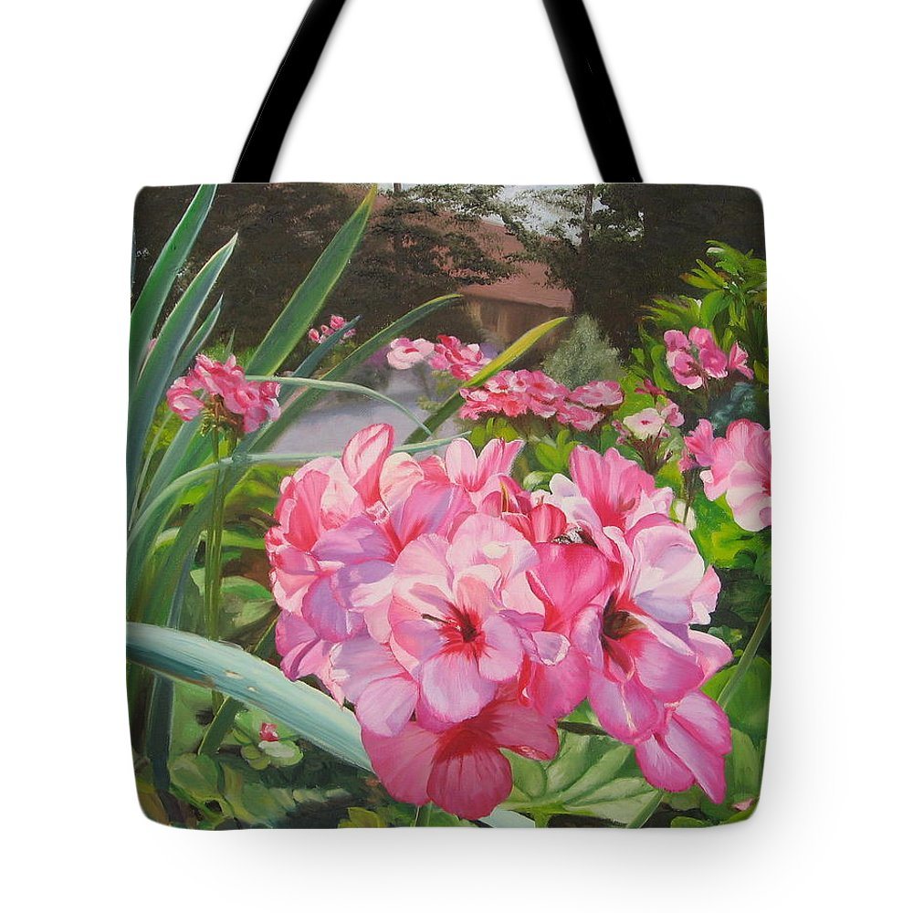 Pink Geraniums Tote Bag featuring the painting Pink Geraniums by Lea Novak