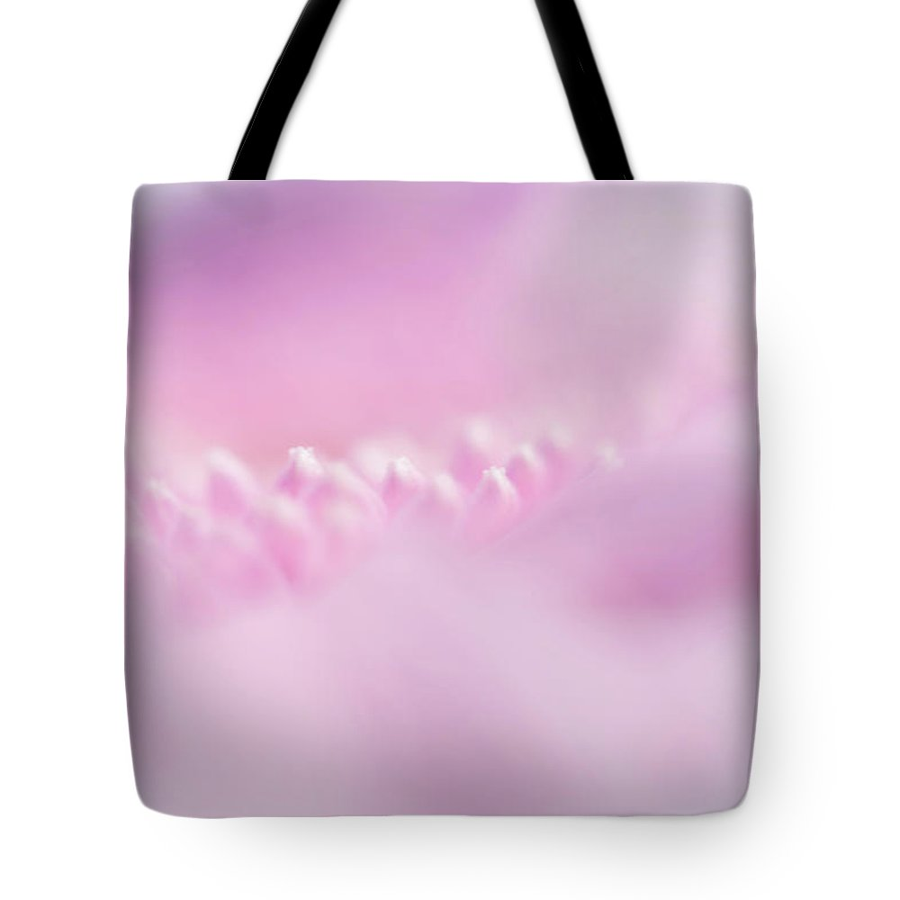 Jenny Rainbow Fine Art Photography Tote Bag featuring the photograph Pink Gerbera Macro 4. Pink Temptation by Jenny Rainbow