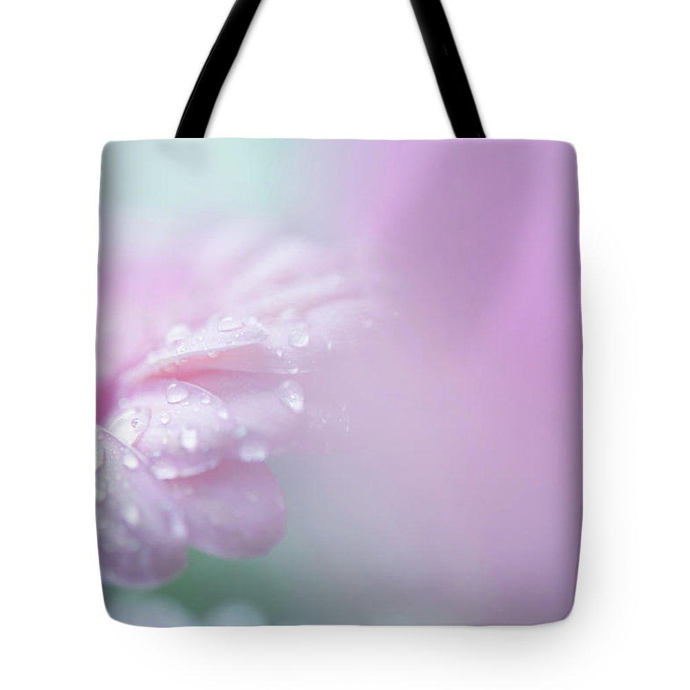 Jenny Rainbow Fine Art Photography Tote Bag featuring the photograph Pink Gerbera Macro 6. Pink Temptation by Jenny Rainbow