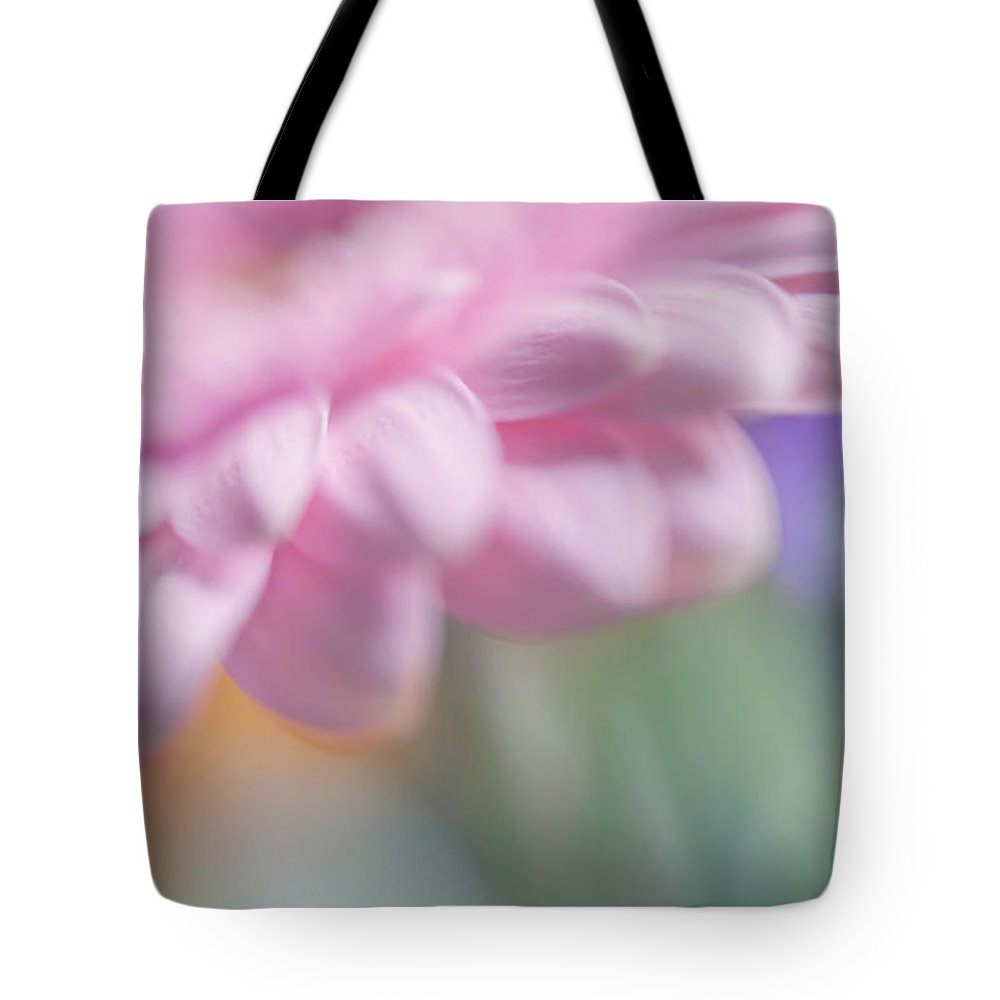 Jenny Rainbow Fine Art Photography Tote Bag featuring the photograph Pink Gerbera Macro. Pink Temptation by Jenny Rainbow