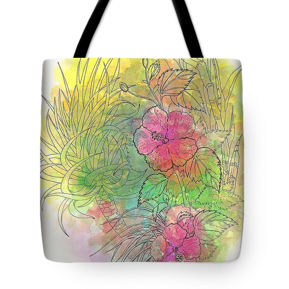 Flowers Tote Bag featuring the drawing Pink Hibiscus by George I Perez